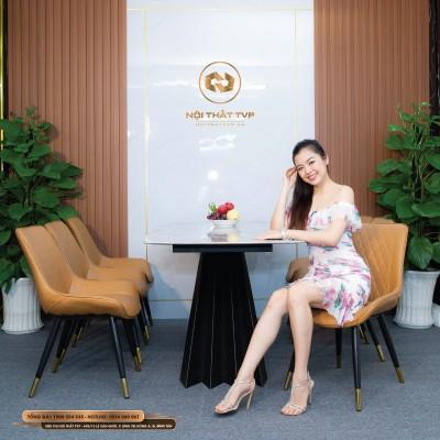Bộ bàn ăn 6 ghế mặt đá Marble vân mây, chân cánh buồm, ghế Loft trám bọc da Microfiber chống cháy, chân inox mạ titan - cam