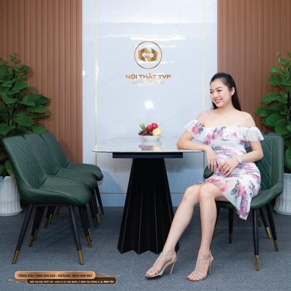 Bộ bàn ăn 6 ghế mặt đá Marble vân mây, chân cánh buồm, ghế Loft trám bọc da Microfiber chống cháy, chân inox mạ titan - xanh rêu