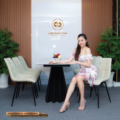 Bộ bàn ăn 6 ghế mặt đá Marble vân mây, chân cánh buồm, ghế Loft vuông, chân sắt sơn tĩnh điện - kem