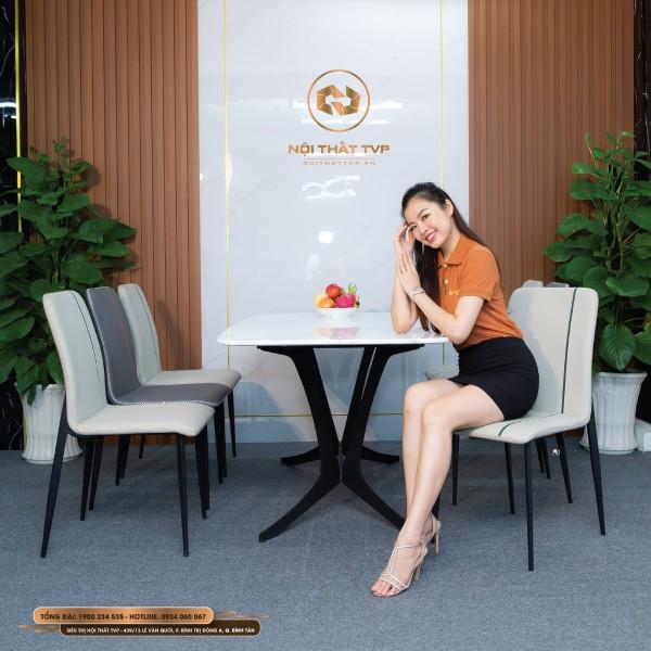 Bộ bàn ăn 6 ghế mặt đá Marble trắng, chân cánh bướm, ghế nệm viền thời trang
