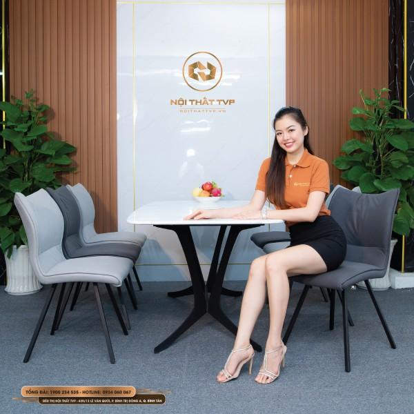 Bộ bàn ăn 6 ghế mặt đá Marble trắng vân mây, chân cánh bướm, ghế ăn phong cách Hàn Quốc bọc nỉ giả da