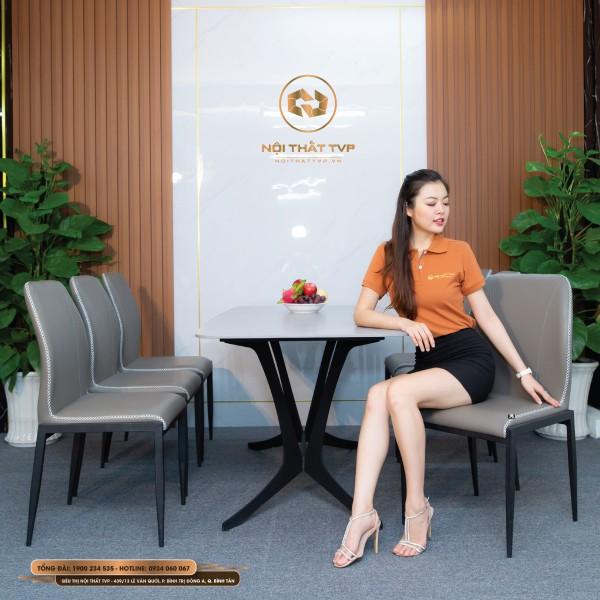 Bộ bàn ăn 6 ghế mặt gốm Ceramic trắng, chân cánh bướm, ghế Loft trơn, chân sắt sơn tĩnh điện - xám