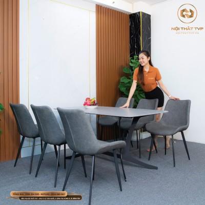 Bộ bàn ăn mặt gốm Ceramic trắng, chân cánh bướm, 6 ghế Loft trám bọc da Microfiber chống cháy