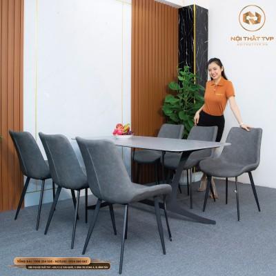 Bộ bàn ăn mặt gốm Ceramic trắng, chân cánh bướm, 6 ghế Loft trơn - xám