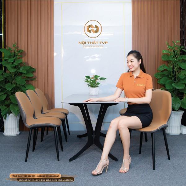 Bộ bàn ăn 6 ghế mặt gốm Ceramic, chân cánh bướm, ghế Monly nệm cao cấp màu xám