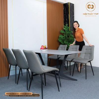 Bộ bàn ăn 6 ghế mặt gốm Ceramic, chân cánh bướm, ghế Loft vuông - xám