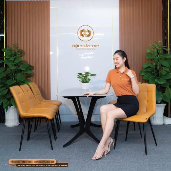 Bộ bàn ăn 6 ghế mặt gốm Ceramic, chân cánh bướm, ghế Loft vuông - cam