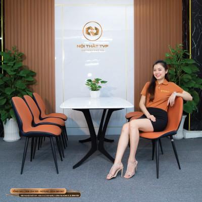 Bộ bàn ăn 6 ghế mặt gốm Ceramic, chân cánh bướm, ghế nệm nỉ Hàn cao cấp - nâu