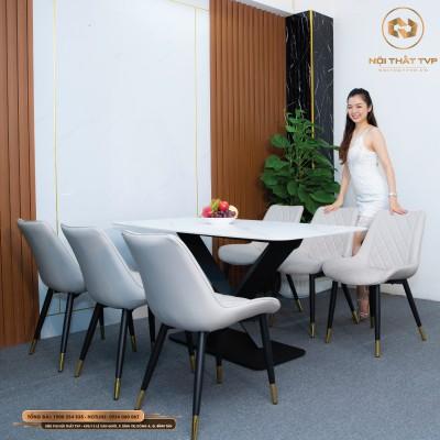 Bộ bàn ăn 6 ghế mặt đá Marble trắng, chân chéo chữ X, ghế Loft trám bọc da Microfiber chống cháy, chân inox mạ titan - xám nhạt