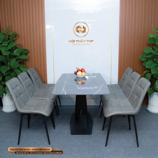 Bộ bàn ăn 6 ghế mặt đá Marble xám vân tia chớp, chân sắt chéo chữ X, ghế Loft vuông cao cấp - xám