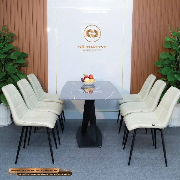 Bộ bàn ăn 6 ghế mặt đá Marble xám vân tia chớp, chân sắt chéo chữ X, ghế Loft vuông cao cấp - kem