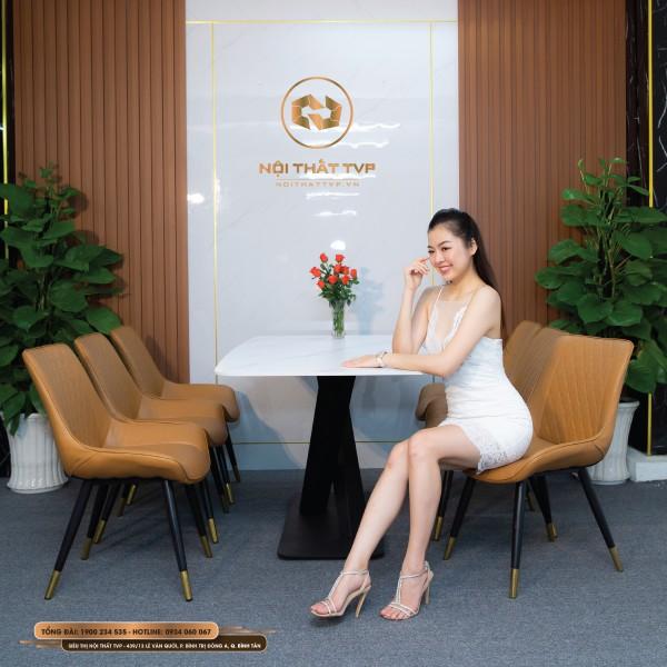 Bộ bàn ăn 6 ghế mặt đá Marble trắng, chân sắt chéo chữ X, ghế Loft trám bọc da Microfiber, chân inox mạ titan - cam