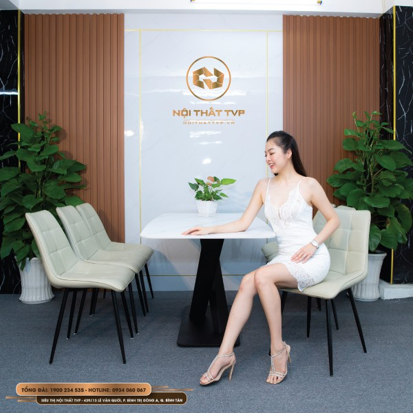 Bộ bàn ăn mặt đá Marble trắng, chân sắt chéo chữ X, ghế Loft vuông - kem