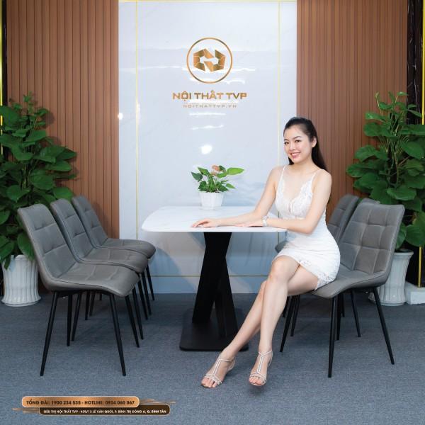 Bộ bàn ăn 6 ghế mặt đá Marble chân sắt chữ X sơn tĩnh điện, ghế loft vuông nhập khẩu - Xám