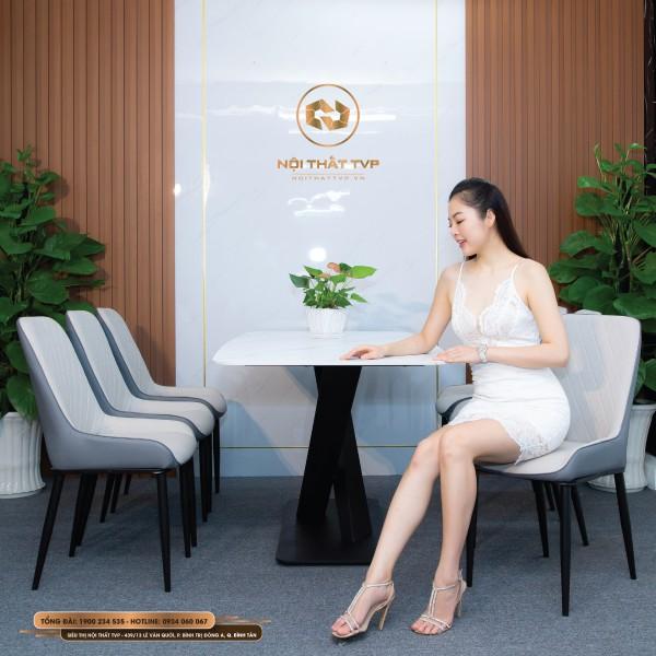 Bộ bàn ăn 6 ghế mặt đá Marble trắng, chân sắt chéo chữ X, ghế nệm Luxury cao cấp - xám