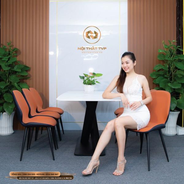 Bộ bàn ăn 6 ghế mặt đá Marble trắng, chân sắt chéo chữ X, ghế nệm nỉ Hàn nhập khẩu - cam