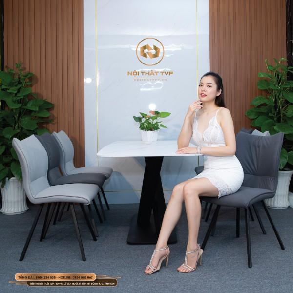 Bộ bàn ăn mặt đá Marble chân sắt chéo sơn tĩnh điện, ghế phong cách Hàn Quốc nhập khẩu