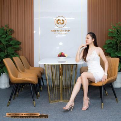 Bộ bàn ăn 6 ghế mặt đá Marble trắng, chân inox mạ vàng, ghế Loft trám bọc da Microfiber chống cháy, chân inox mạ titan - cam