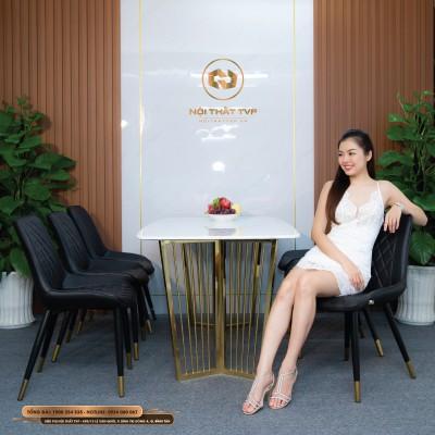 Bộ bàn ăn 6 ghế mặt đá Marble trắng, chân inox mạ vàng, ghế Loft trám bọc da Microfiber chống cháy, chân inox mạ titan - đen
