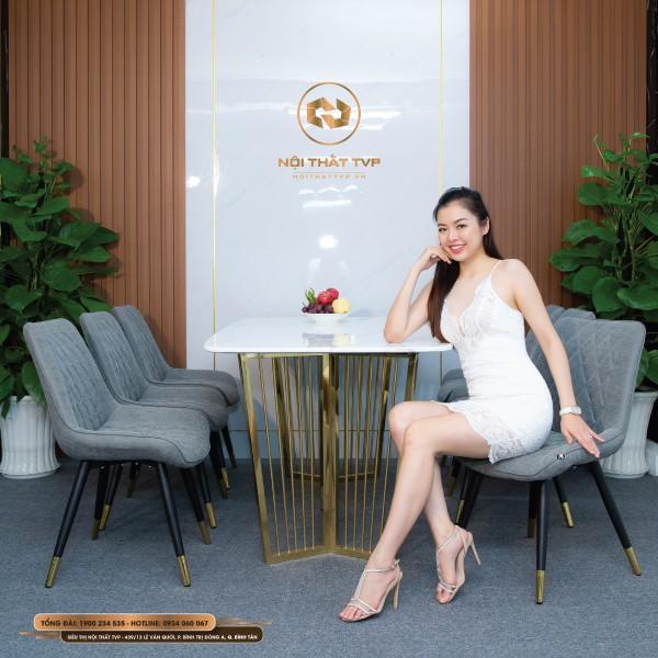 Bộ bàn ăn 6 ghế mặt đá Marble trắng, chân inox mạ vàng, ghế Loft trám bọc nỉ giả da, chân inox mạ titan - xám