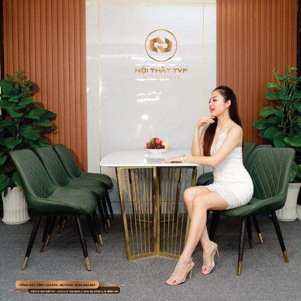 Bộ bàn ăn 6 ghế mặt đá Marble trắng, chân inox mạ vàng, ghế Loft trám bọc da Microfiber chống cháy, chân inox mạ titan - xanh rêu