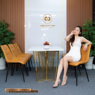 Bộ bàn ăn 6 ghế mặt đá Marble trắng, chân inox mạ vàng, ghế Loft vuông - cam