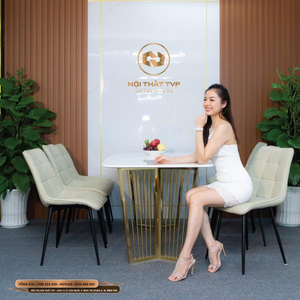 Bộ bàn ăn 6 ghế mặt đá Marble trắng, chân inox mạ vàng, ghế Loft vuông - kem