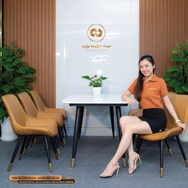 Bộ bàn ăn mặt đá Marble chân sắt sơn tĩnh điện, ghế Loft trám bọc da Microfiber chống cháy, chân inox mạ titan - cam