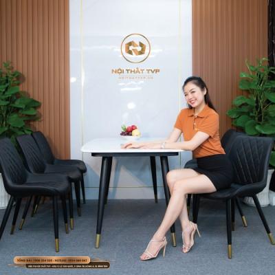 Bộ bàn ăn 6 ghế mặt đá Marble chân sắt sơn tĩnh điện, ghế loft trám - đen