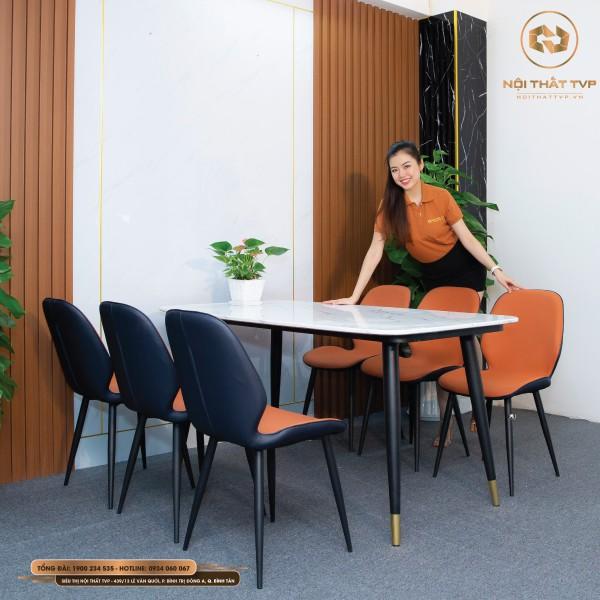 Bộ bàn ăn 6 ghế mặt đá Marble trắng, chân sắt sơn tĩnh điện, ghế nệm nỉ Hàn nhập khẩu - cam