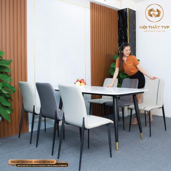 Bộ bàn ăn 6 ghế mặt đá Marble trắng, chân sắt sơn tĩnh điện, ghế nệm viền thời trang cao cấp