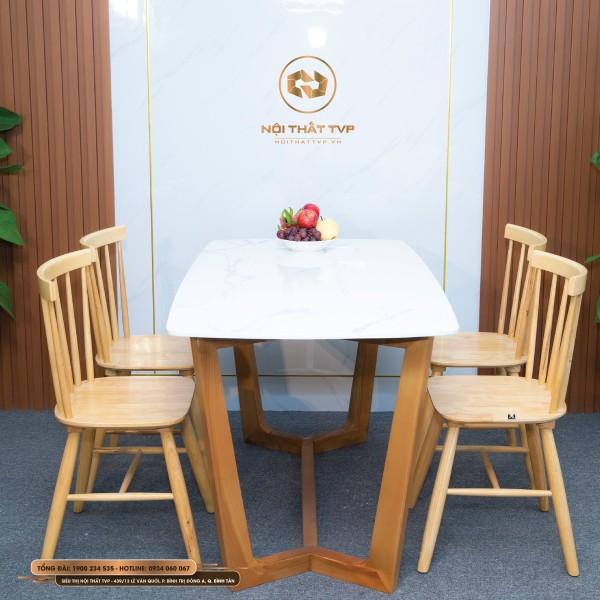 Bộ bàn ăn Concorde 4 ghế mặt đá Marble trắng vân mây, ghế Rio gỗ cao su tự nhiên - màu gỗ tự nhiên