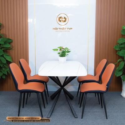 Bộ bàn ăn 4 ghế mặt gốm Ceramic trắng, chân sắt chữ X đôi, ghế nệm nỉ Hàn - cam