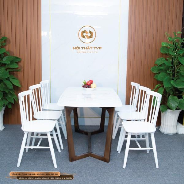 Bộ bàn ăn Concorde 6 ghế mặt đá Marble trắng vân mây, ghế Rio gỗ cao su tự nhiên - trắng