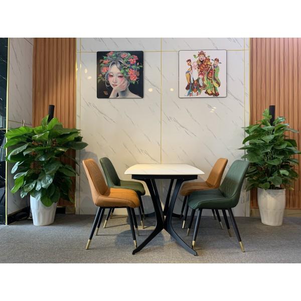 Bộ bàn ăn 4 ghế mặt gốm trắng