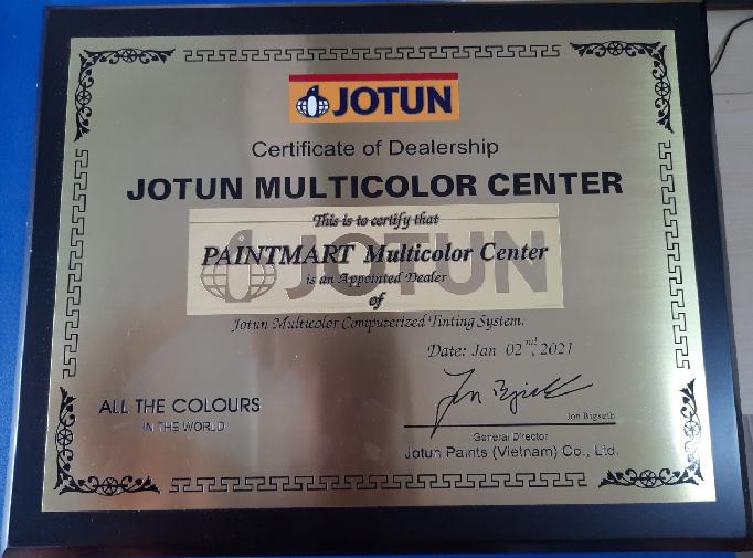 Giấy chứng nhận đại lý phân phối sơn Jotun chính hãng